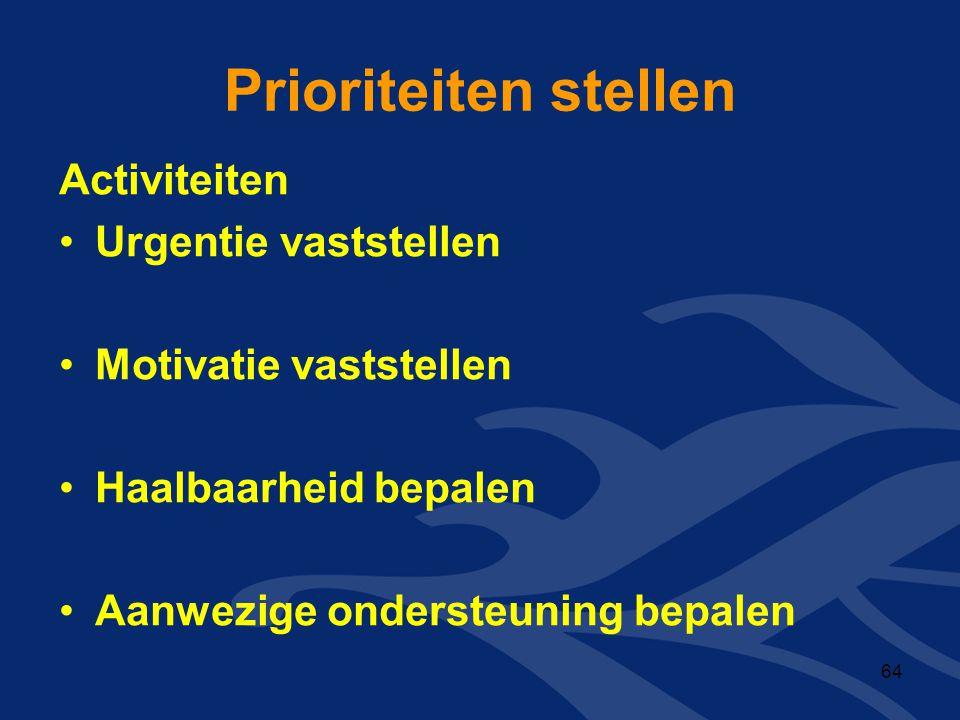 Prioriteiten stellen Activiteiten •Urgentie vaststellen •Motivatie vaststellen •Haalbaarheid bepalen •Aanwezige ondersteuning bepalen 64
