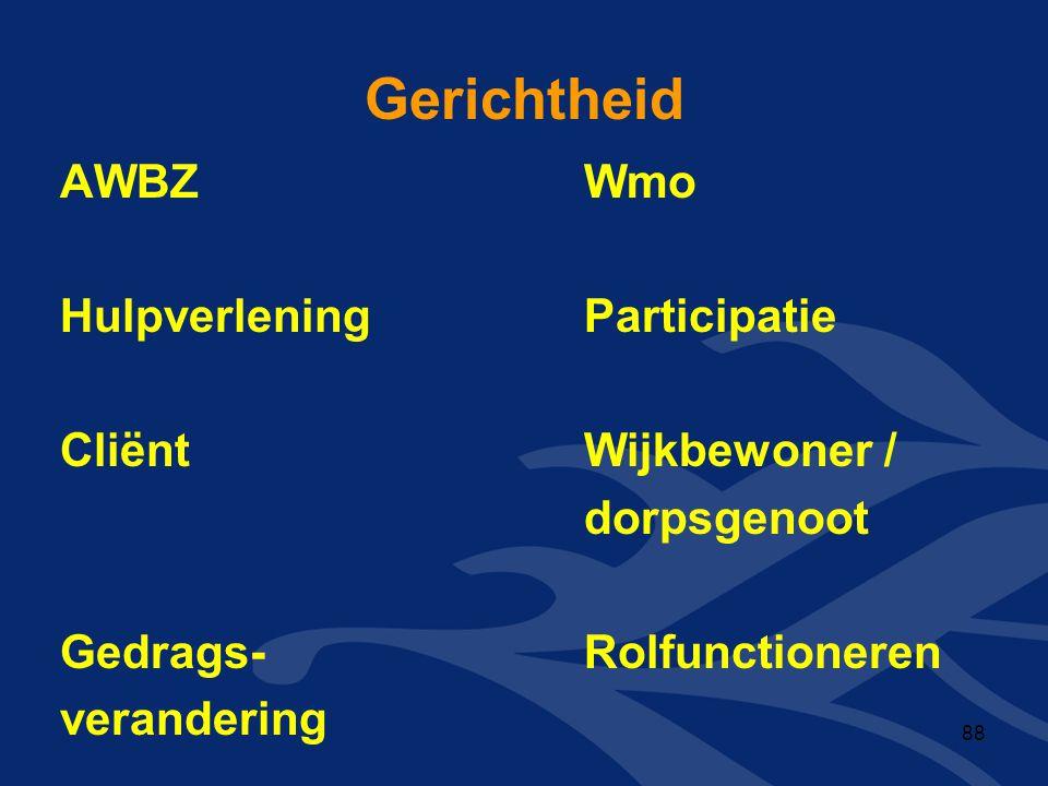 Gerichtheid AWBZWmo HulpverleningParticipatie CliëntWijkbewoner / dorpsgenoot Gedrags-Rolfunctioneren verandering 88