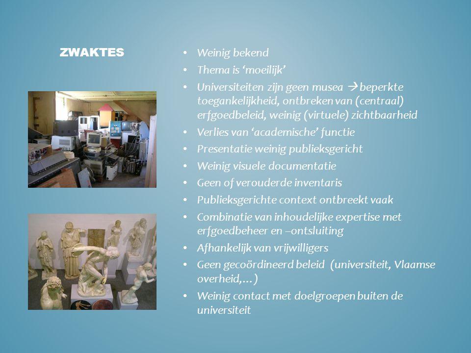• Groeiende interesse voor erfgoed • Internationale voorbeelden • Mogelijkheid voor universiteiten om meer zichtbaar te worden (o.a.