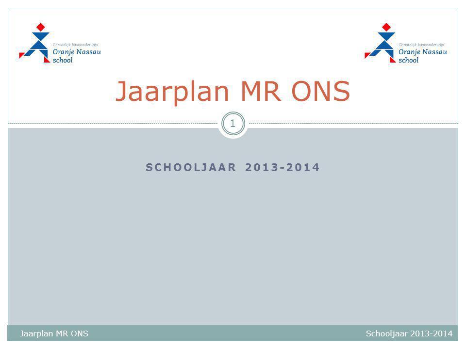SCHOOLJAAR 2013-2014 Jaarplan MR ONS 1 Schooljaar 2013-2014