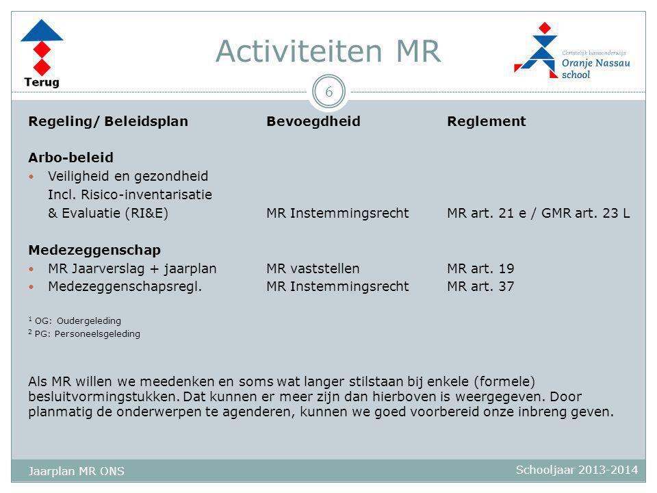 Activiteiten MR Regeling/ BeleidsplanBevoegdheidReglement Arbo-beleid  Veiligheid en gezondheid Incl. Risico-inventarisatie & Evaluatie (RI&E)MR Inst