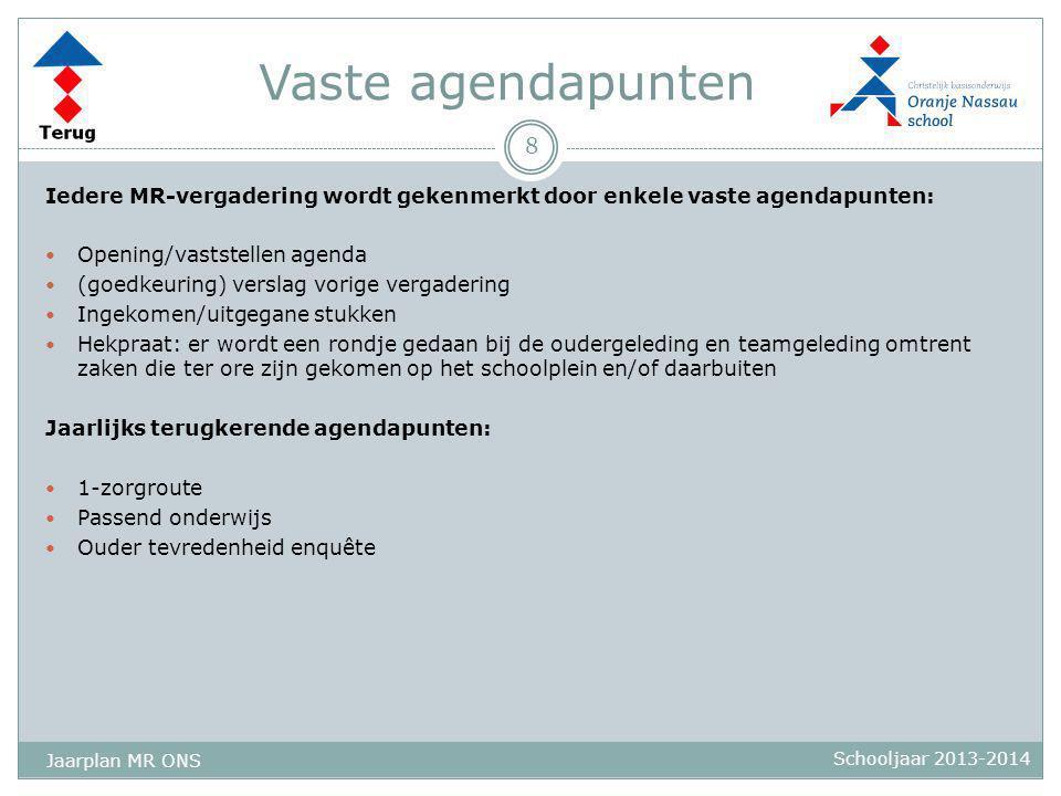 Vaste agendapunten Iedere MR-vergadering wordt gekenmerkt door enkele vaste agendapunten:  Opening/vaststellen agenda  (goedkeuring) verslag vorige
