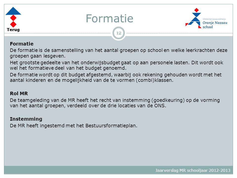 Formatie De formatie is de samenstelling van het aantal groepen op school en welke leerkrachten deze groepen gaan lesgeven. Het grootste gedeelte van