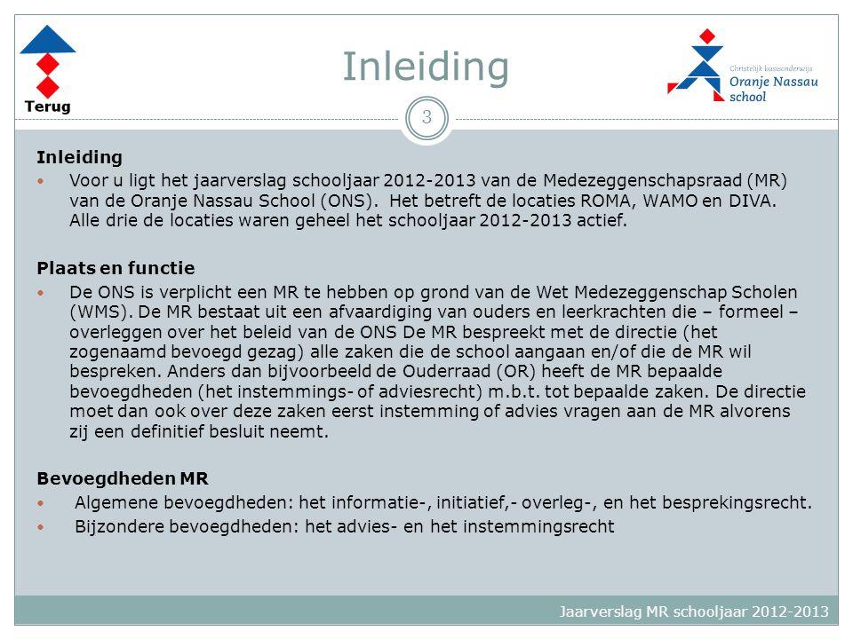 Inleiding  Voor u ligt het jaarverslag schooljaar 2012-2013 van de Medezeggenschapsraad (MR) van de Oranje Nassau School (ONS). Het betreft de locati