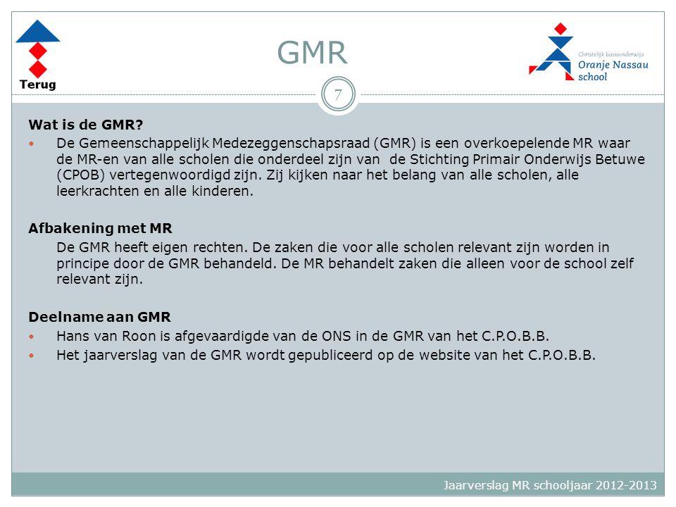 GMR Wat is de GMR?  De Gemeenschappelijk Medezeggenschapsraad (GMR) is een overkoepelende MR waar de MR-en van alle scholen die onderdeel zijn van de