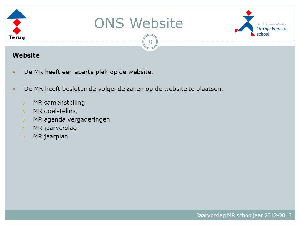 ONS Website Website  De MR heeft een aparte plek op de website.  De MR heeft besloten de volgende zaken op de website te plaatsen.  MR samenstellin