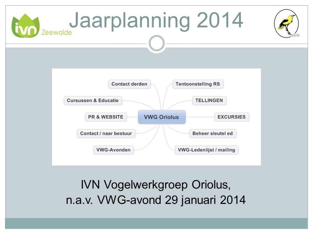 Jaarplanning 2014 IVN Vogelwerkgroep Oriolus, n.a.v. VWG-avond 29 januari 2014