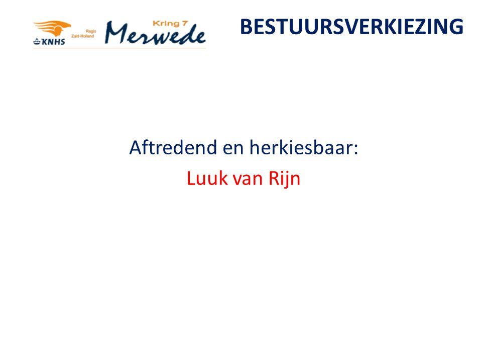 BESTUURSVERKIEZING Aftredend en herkiesbaar: Luuk van Rijn