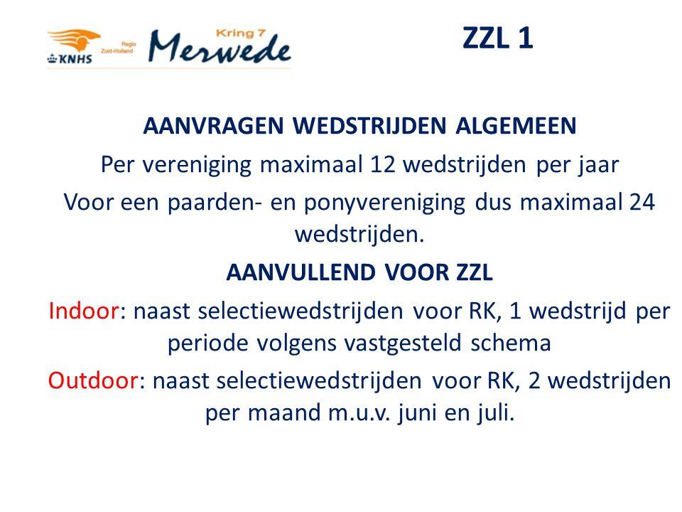 ZZL 2 Afspraken toewijzing van ZZ-Licht wedstrijden: -één ZZ-Licht wedstrijd per weekend -eerst selectiewedstrijden toewijzen -daarna toewijzing aan verenigingen die geen selectiewedstrijd organiseren -maximum van één per vereniging per maand/periode.