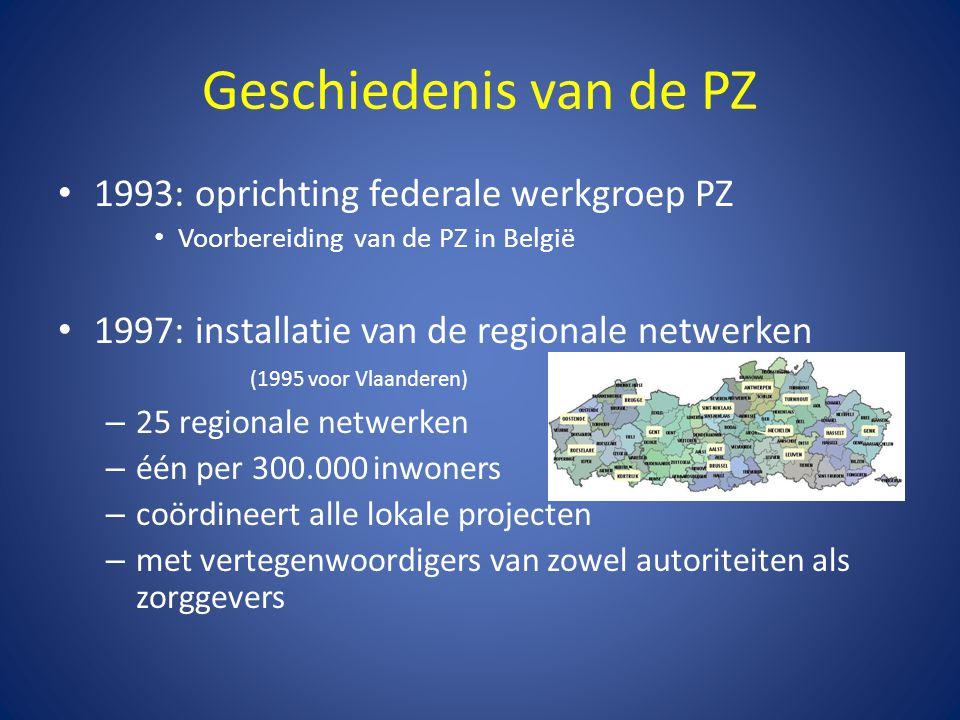 Geschiedenis van de PZ • 1993: oprichting federale werkgroep PZ • Voorbereiding van de PZ in België • 1997: installatie van de regionale netwerken (19