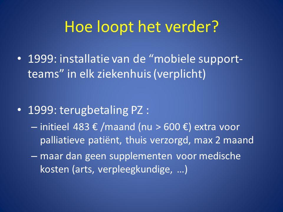 """Hoe loopt het verder? • 1999: installatie van de """"mobiele support- teams"""" in elk ziekenhuis (verplicht) • 1999: terugbetaling PZ : – initieel 483 € /m"""