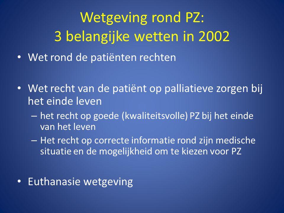 Wetgeving rond PZ: 3 belangijke wetten in 2002 • Wet rond de patiënten rechten • Wet recht van de patiënt op palliatieve zorgen bij het einde leven –