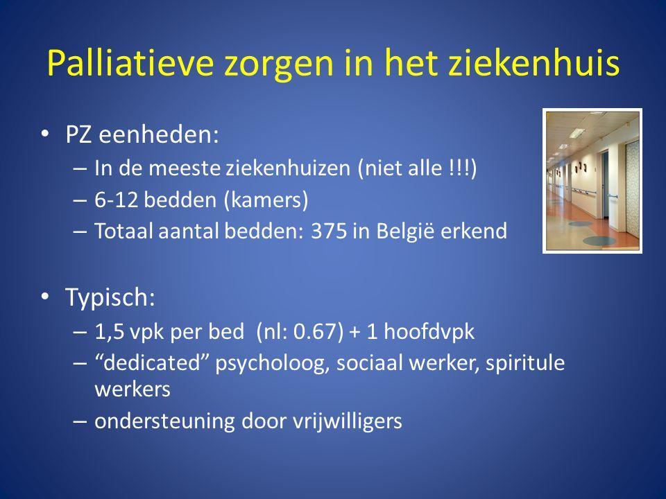 Palliatieve zorgen in het ziekenhuis • PZ eenheden: – In de meeste ziekenhuizen (niet alle !!!) – 6-12 bedden (kamers) – Totaal aantal bedden: 375 in