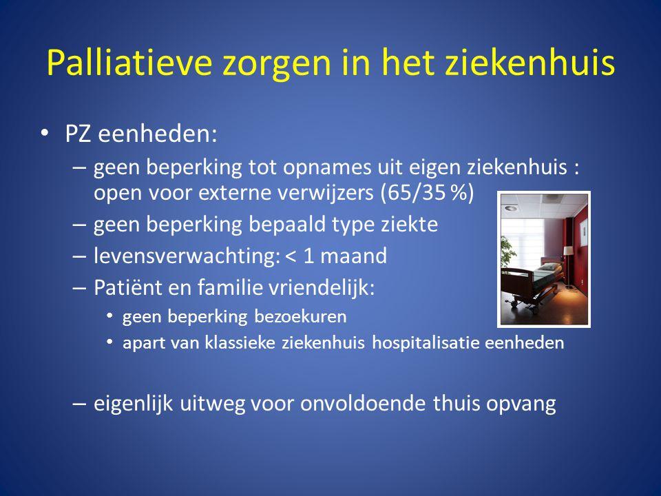 Palliatieve zorgen in het ziekenhuis • PZ eenheden: – geen beperking tot opnames uit eigen ziekenhuis : open voor externe verwijzers (65/35 %) – geen