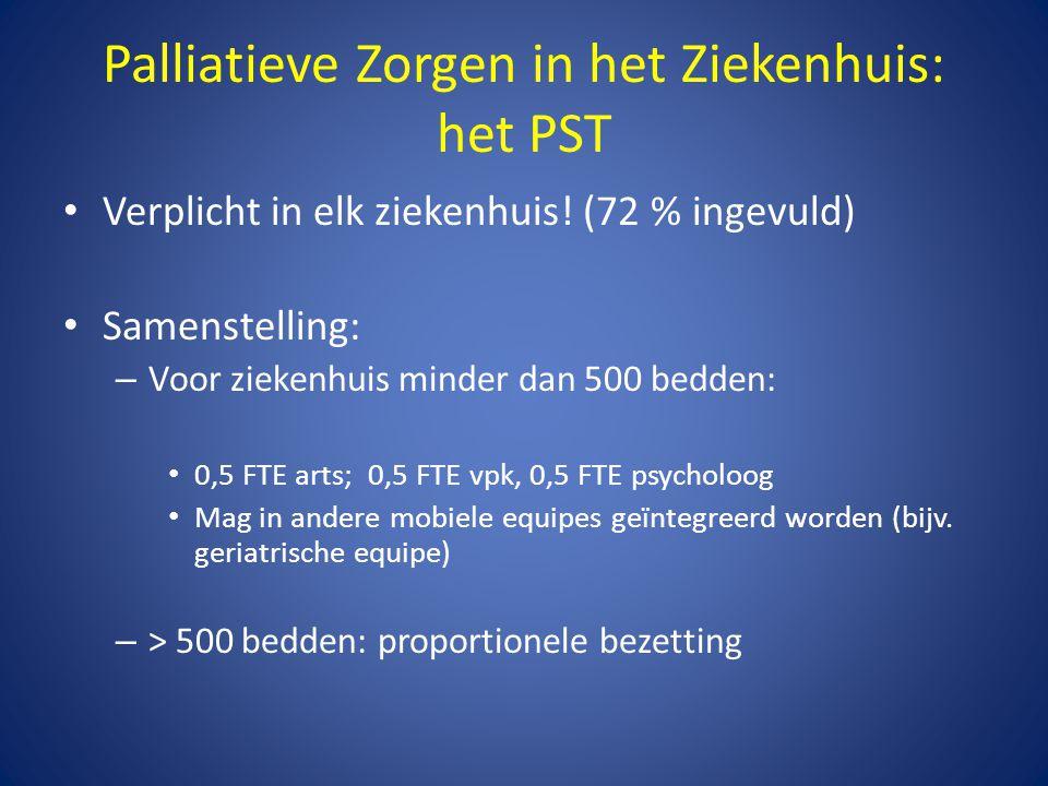 Palliatieve Zorgen in het Ziekenhuis: het PST • Verplicht in elk ziekenhuis! (72 % ingevuld) • Samenstelling: – Voor ziekenhuis minder dan 500 bedden: