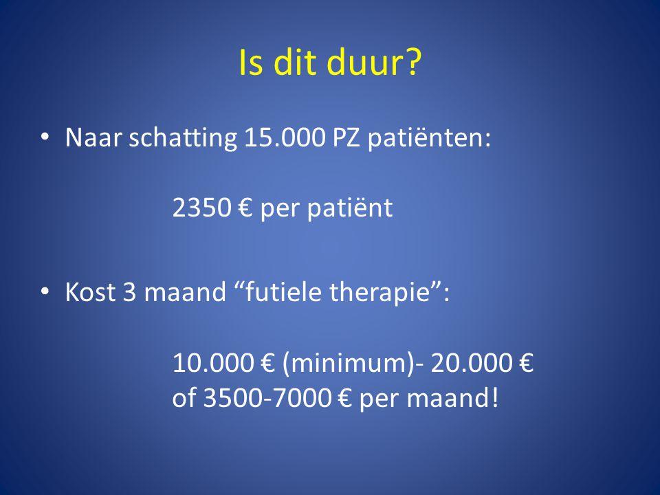 """Is dit duur? • Naar schatting 15.000 PZ patiënten: 2350 € per patiënt • Kost 3 maand """"futiele therapie"""": 10.000 € (minimum)- 20.000 € of 3500-7000 € p"""