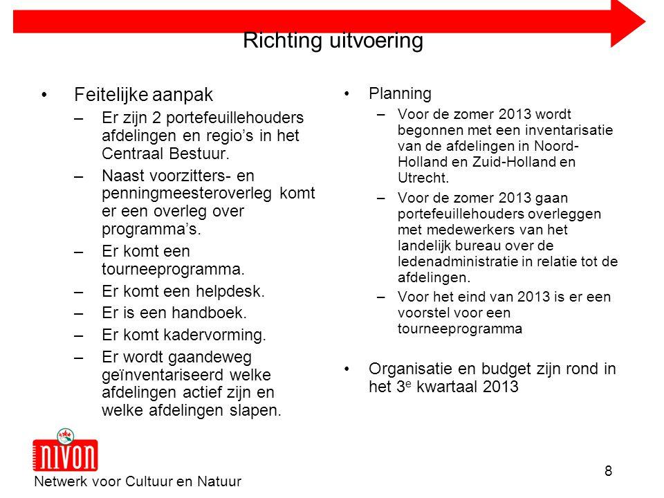 Netwerk voor Cultuur en Natuur 8 Richting uitvoering •Feitelijke aanpak –Er zijn 2 portefeuillehouders afdelingen en regio's in het Centraal Bestuur.