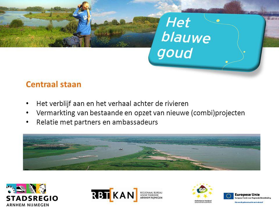 Centraal staan • Het verblijf aan en het verhaal achter de rivieren • Vermarkting van bestaande en opzet van nieuwe (combi)projecten • Relatie met partners en ambassadeurs