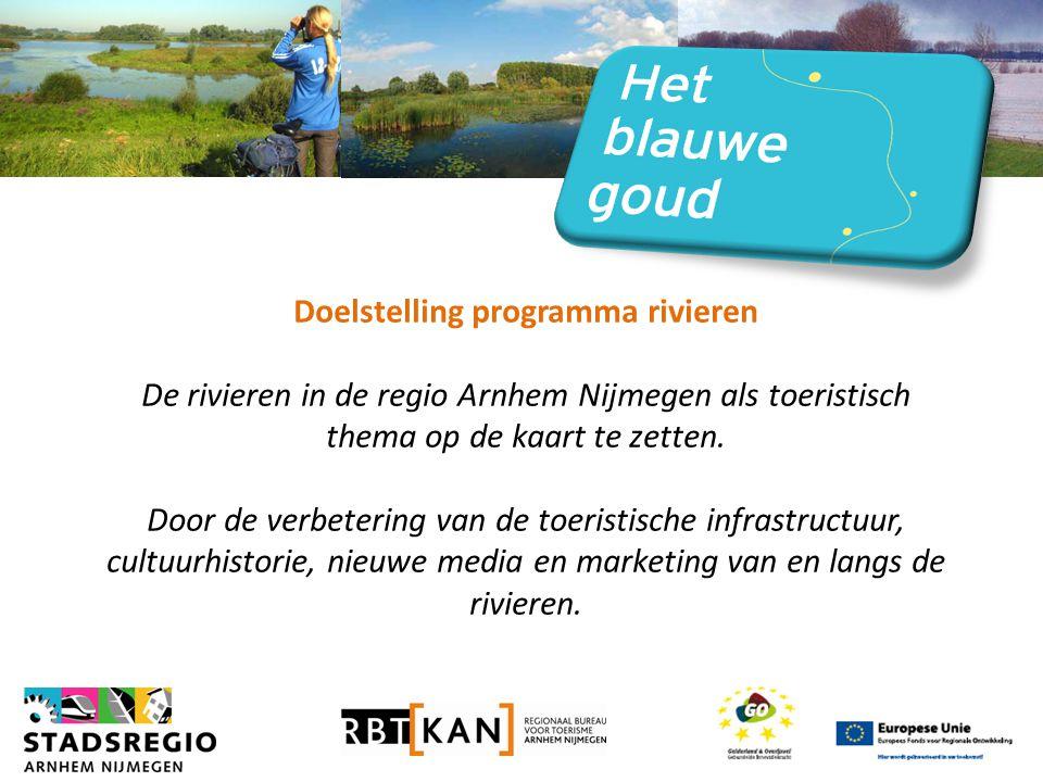Doelstelling programma rivieren De rivieren in de regio Arnhem Nijmegen als toeristisch thema op de kaart te zetten.