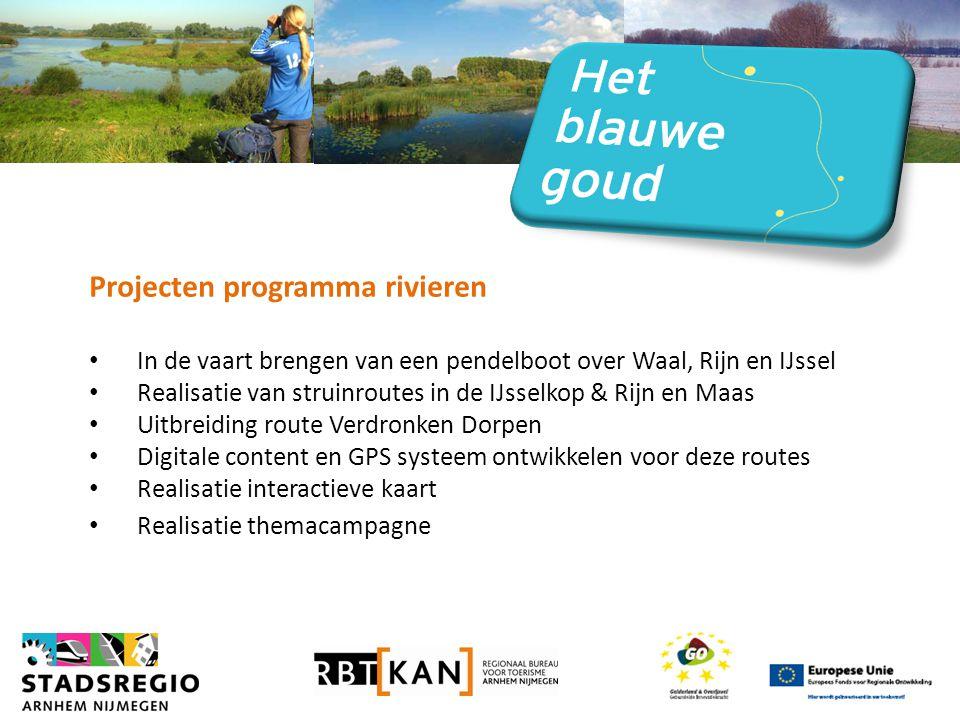 Projecten programma rivieren • In de vaart brengen van een pendelboot over Waal, Rijn en IJssel • Realisatie van struinroutes in de IJsselkop & Rijn en Maas • Uitbreiding route Verdronken Dorpen • Digitale content en GPS systeem ontwikkelen voor deze routes • Realisatie interactieve kaart • Realisatie themacampagne
