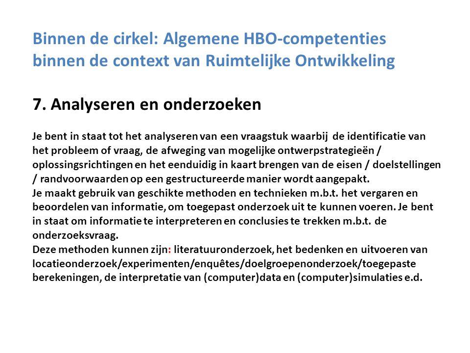 Binnen de cirkel: Algemene HBO-competenties binnen de context van Ruimtelijke Ontwikkeling 7.
