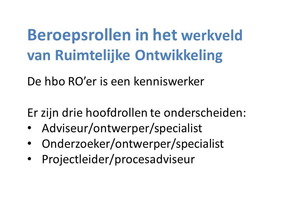 Beroepsrollen in het werkveld van Ruimtelijke Ontwikkeling De hbo RO'er is een kenniswerker Er zijn drie hoofdrollen te onderscheiden: • Adviseur/ontwerper/specialist • Onderzoeker/ontwerper/specialist • Projectleider/procesadviseur