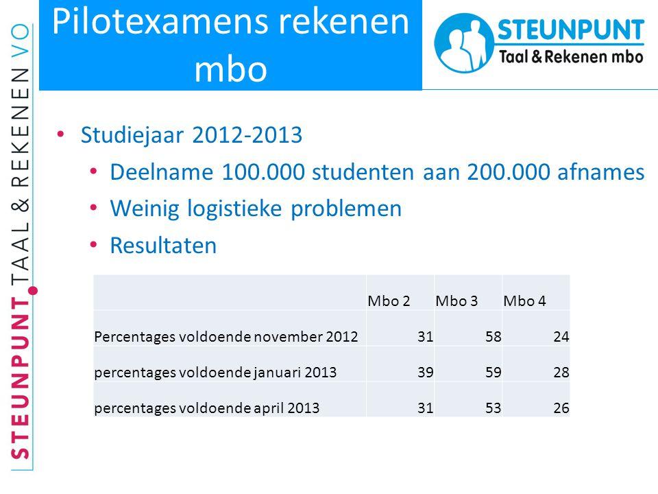 Pilotexamens rekenen mbo • Studiejaar 2012-2013 • Deelname 100.000 studenten aan 200.000 afnames • Weinig logistieke problemen • Resultaten Mbo 2Mbo 3