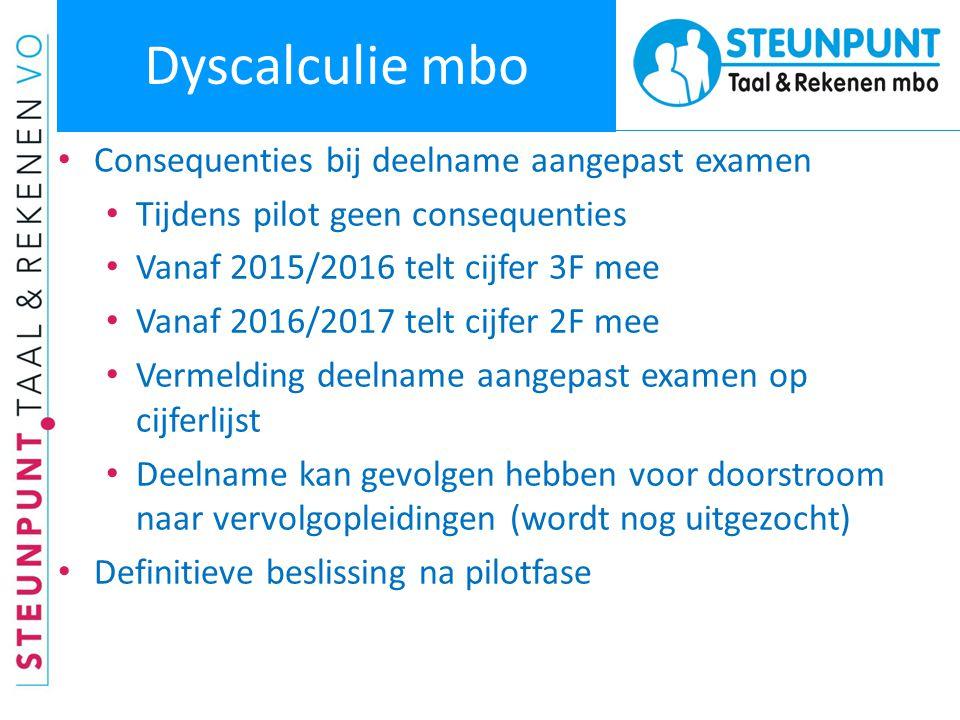 Dyscalculie mbo • Consequenties bij deelname aangepast examen • Tijdens pilot geen consequenties • Vanaf 2015/2016 telt cijfer 3F mee • Vanaf 2016/201