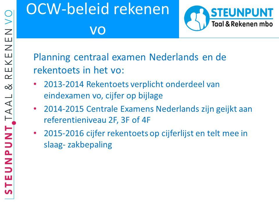 OCW-beleid rekenen vo Planning centraal examen Nederlands en de rekentoets in het vo: • 2013-2014 Rekentoets verplicht onderdeel van eindexamen vo, ci