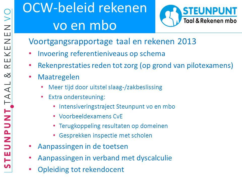 OCW-beleid rekenen vo en mbo Voortgangsrapportage taal en rekenen 2013 • Invoering referentieniveaus op schema • Rekenprestaties reden tot zorg (op gr