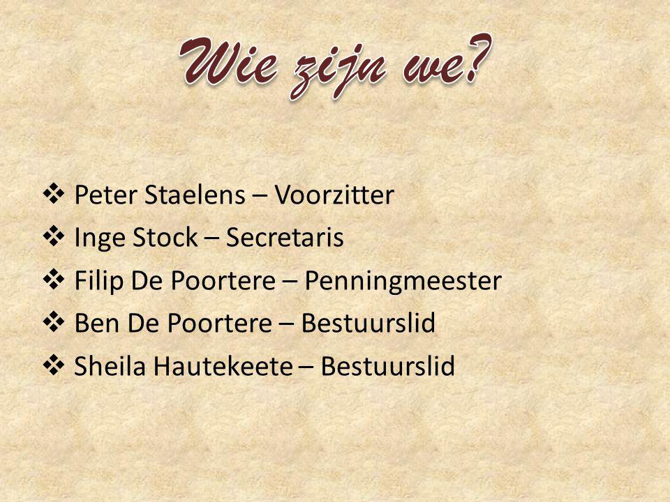  Peter Staelens – Voorzitter  Inge Stock – Secretaris  Filip De Poortere – Penningmeester  Ben De Poortere – Bestuurslid  Sheila Hautekeete – Bestuurslid