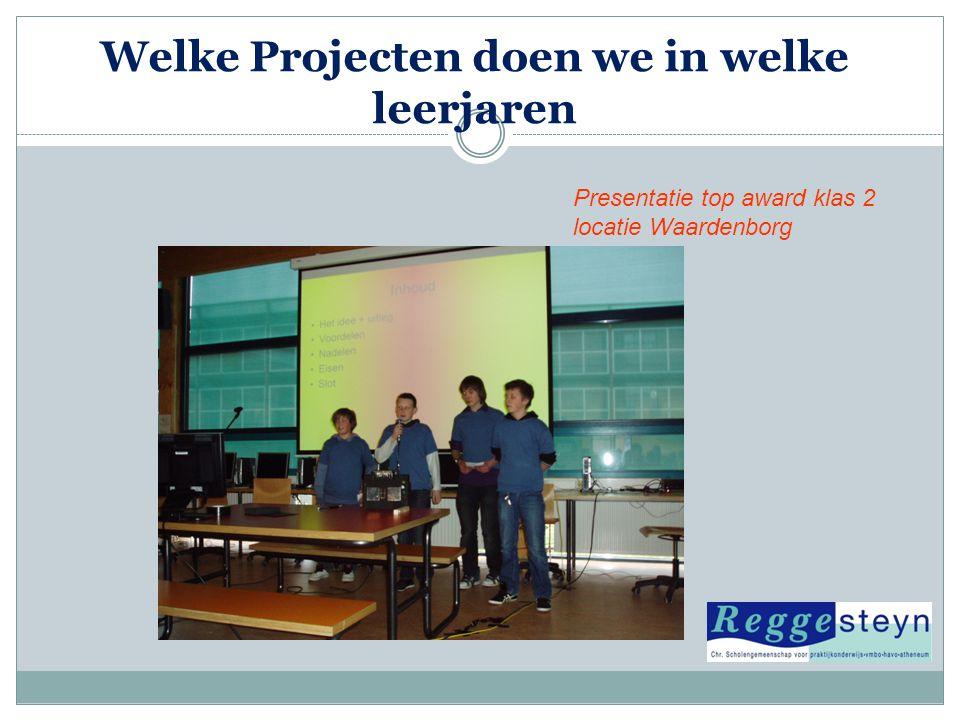 Welke Projecten doen we in welke leerjaren Presentatie top award klas 2 locatie Waardenborg