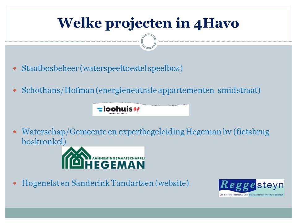 Welke projecten in 4Havo  Staatbosbeheer (waterspeeltoestel speelbos)  Schothans/Hofman (energieneutrale appartementen smidstraat)  Waterschap/Geme