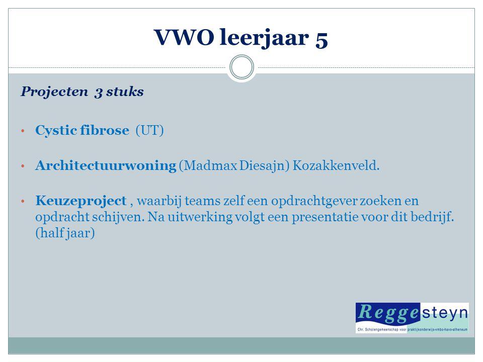 VWO leerjaar 5 Projecten 3 stuks • Cystic fibrose (UT) • Architectuurwoning (Madmax Diesajn) Kozakkenveld. • Keuzeproject, waarbij teams zelf een opdr
