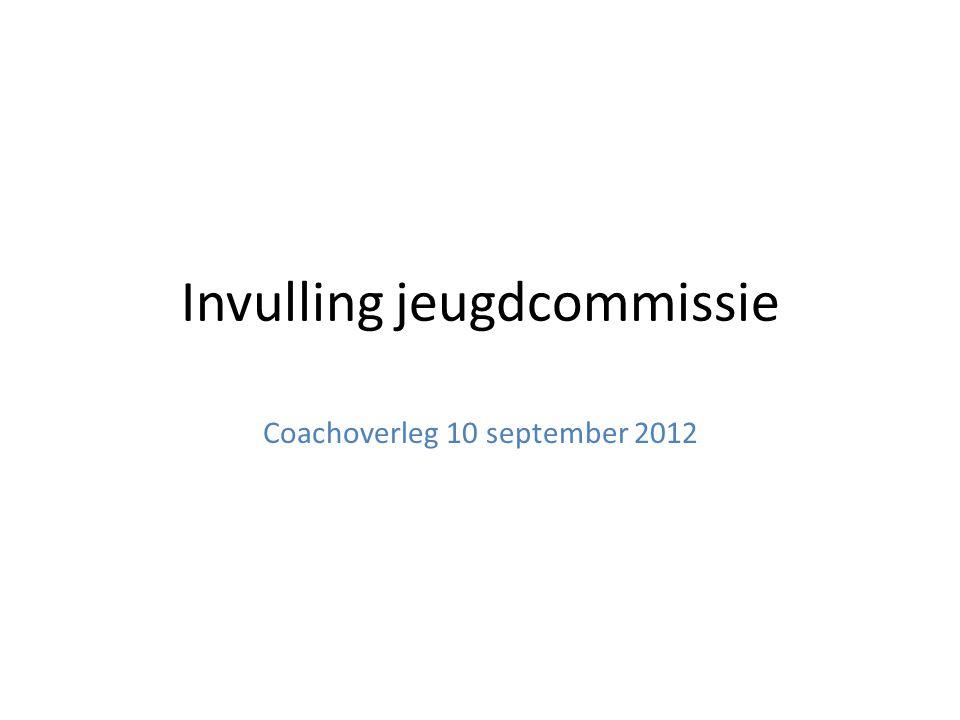 Invulling jeugdcommissie Coachoverleg 10 september 2012