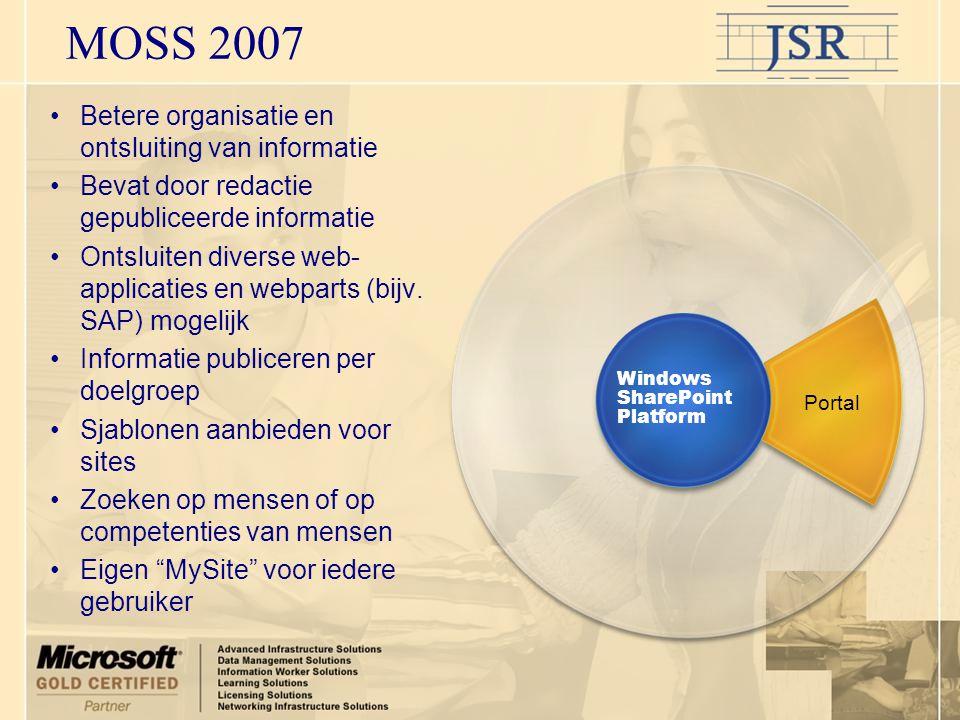 MOSS 2007 Portal •Betere organisatie en ontsluiting van informatie •Bevat door redactie gepubliceerde informatie •Ontsluiten diverse web- applicaties en webparts (bijv.