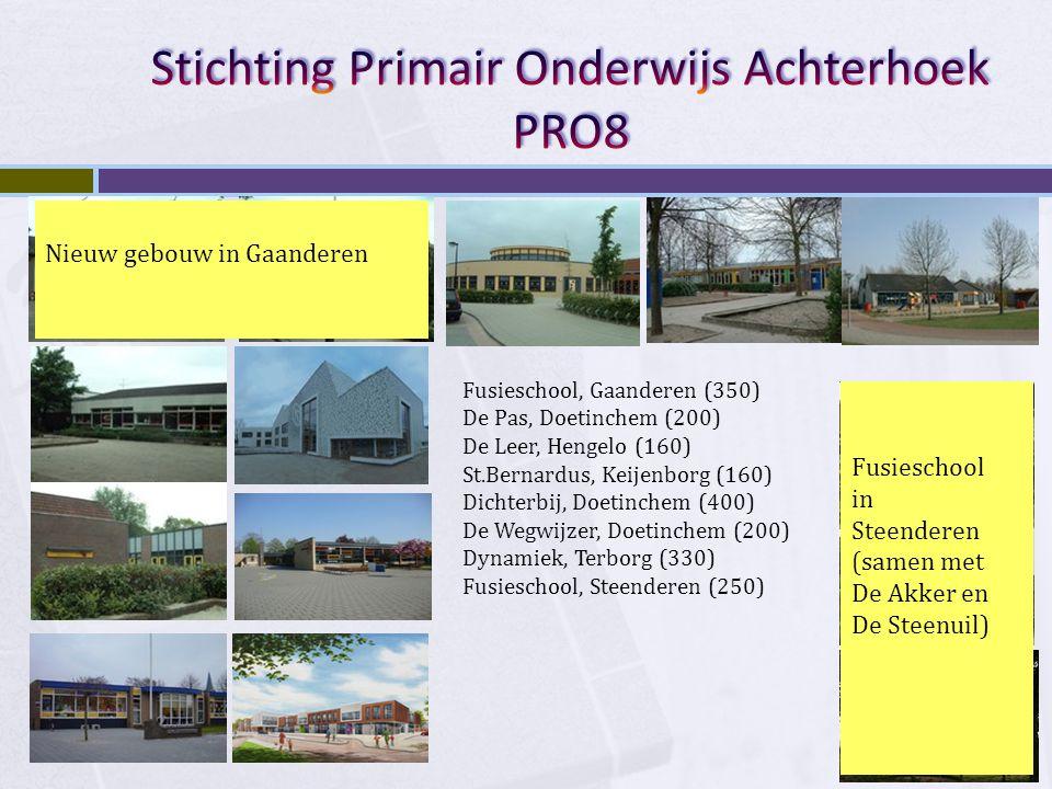 Fusieschool, Gaanderen (350) De Pas, Doetinchem (200) De Leer, Hengelo (160) St.Bernardus, Keijenborg (160) Dichterbij, Doetinchem (400) De Wegwijzer,