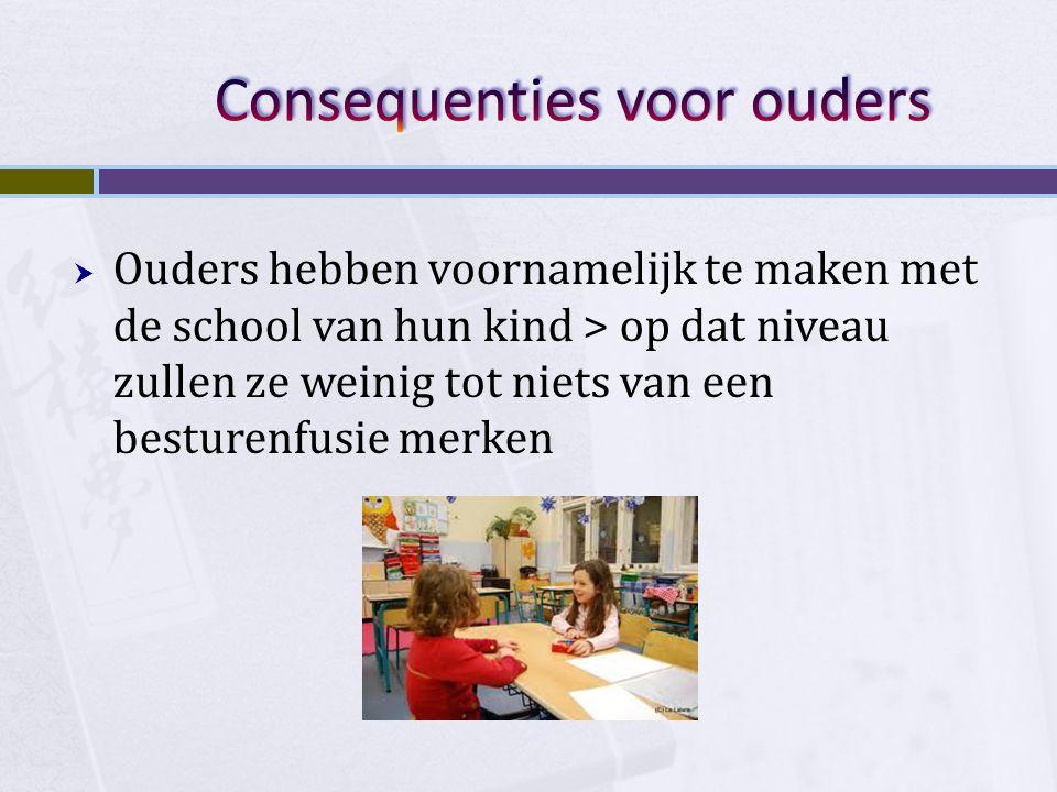  Ouders hebben voornamelijk te maken met de school van hun kind > op dat niveau zullen ze weinig tot niets van een besturenfusie merken
