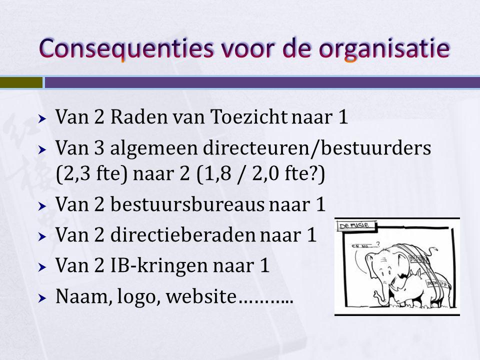  Van 2 Raden van Toezicht naar 1  Van 3 algemeen directeuren/bestuurders (2,3 fte) naar 2 (1,8 / 2,0 fte?)  Van 2 bestuursbureaus naar 1  Van 2 di