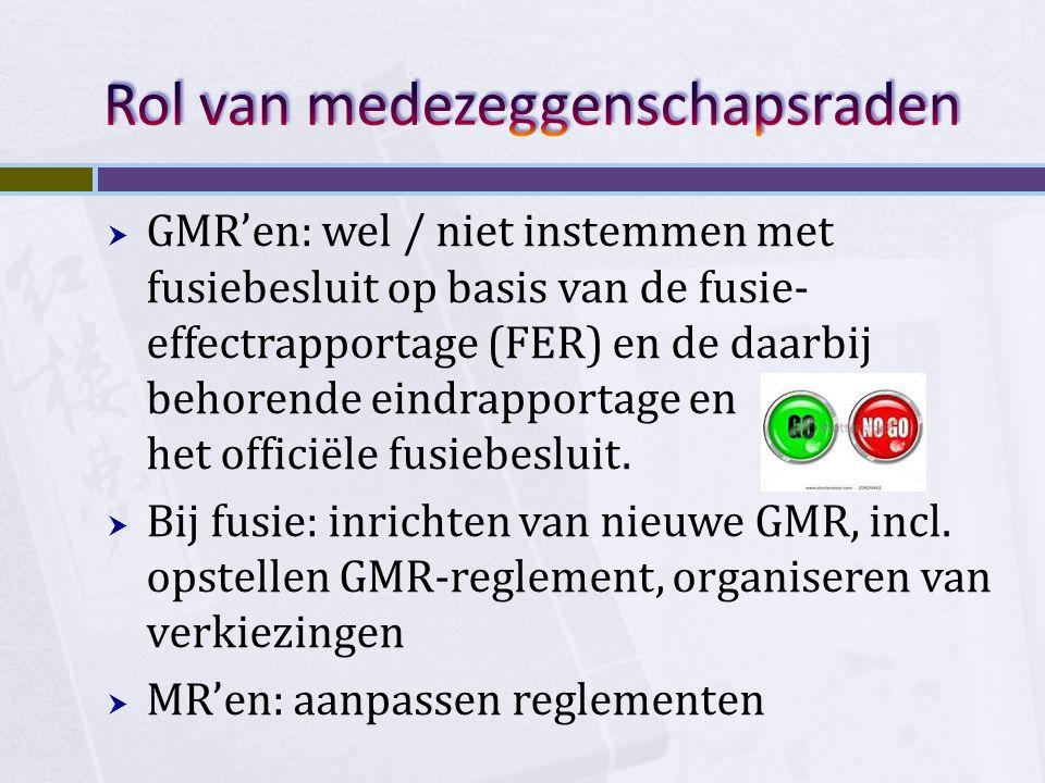  GMR'en: wel / niet instemmen met fusiebesluit op basis van de fusie- effectrapportage (FER) en de daarbij behorende eindrapportage en het officiële