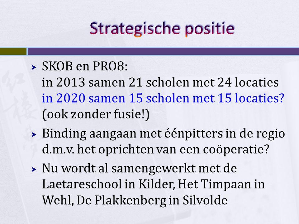  SKOB en PRO8: in 2013 samen 21 scholen met 24 locaties in 2020 samen 15 scholen met 15 locaties? (ook zonder fusie!)  Binding aangaan met éénpitter