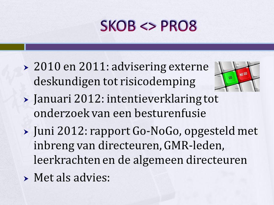  2010 en 2011: advisering externe deskundigen tot risicodemping  Januari 2012: intentieverklaring tot onderzoek van een besturenfusie  Juni 2012: r