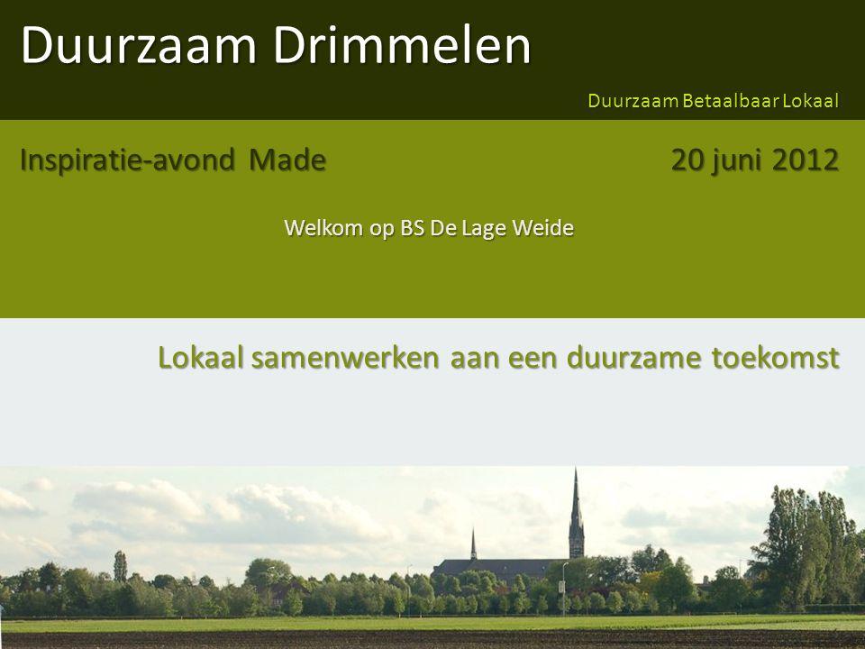 Duurzaam Drimmelen Duurzaam Betaalbaar Lokaal Lokaal samenwerken aan een duurzame toekomst Inspiratie-avond Made Welkom op BS De Lage Weide 20 juni 2012