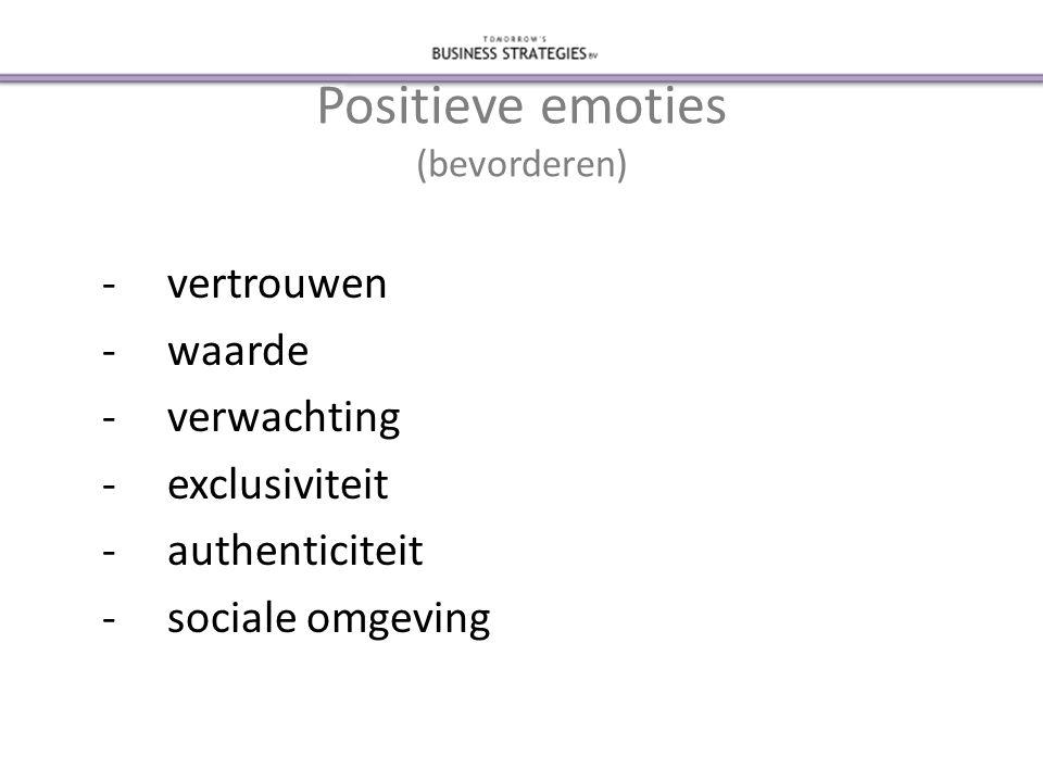 Positieve emoties (bevorderen) -vertrouwen -waarde -verwachting -exclusiviteit -authenticiteit -sociale omgeving
