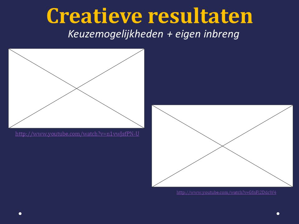 Creatieve resultaten Keuzemogelijkheden + eigen inbreng http://www.youtube.com/watch v=n1vwJsfPN-U http://www.youtube.com/watch v=GfnFi2DdcW4