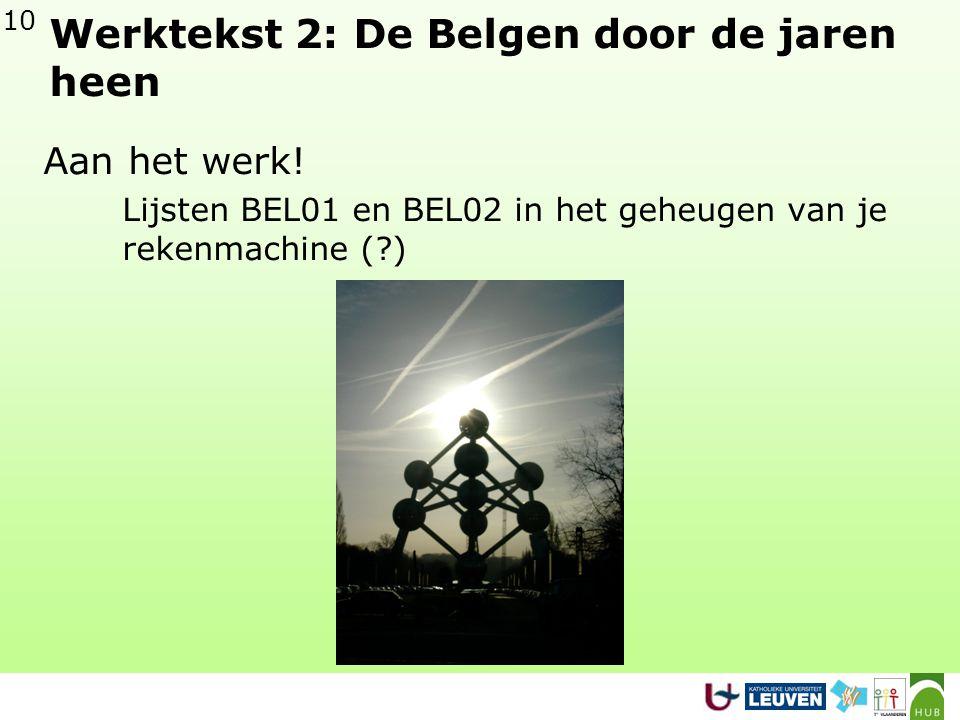 10 Werktekst 2: De Belgen door de jaren heen Aan het werk.
