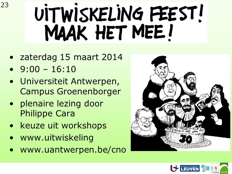 23 •zaterdag 15 maart 2014 •9:00 – 16:10 •Universiteit Antwerpen, Campus Groenenborger •plenaire lezing door Philippe Cara •keuze uit workshops •www.uitwiskeling •www.uantwerpen.be/cno