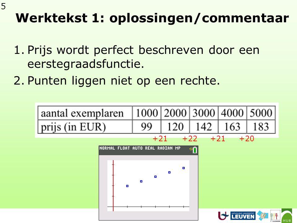 5 Werktekst 1: oplossingen/commentaar 1.Prijs wordt perfect beschreven door een eerstegraadsfunctie.