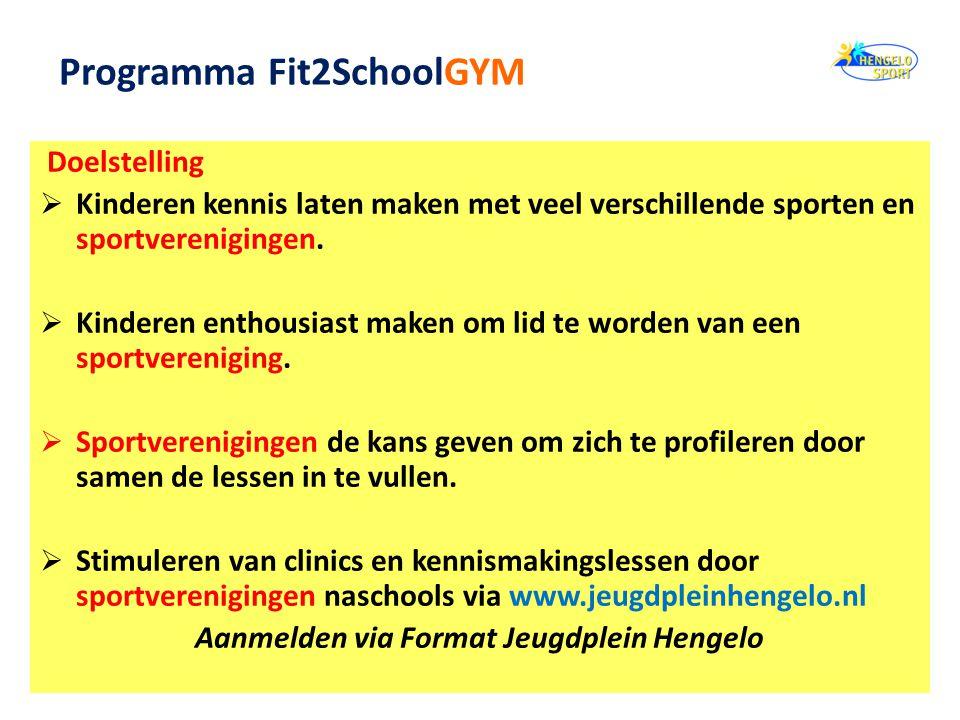 Doelstelling  Kinderen kennis laten maken met veel verschillende sporten en sportverenigingen.