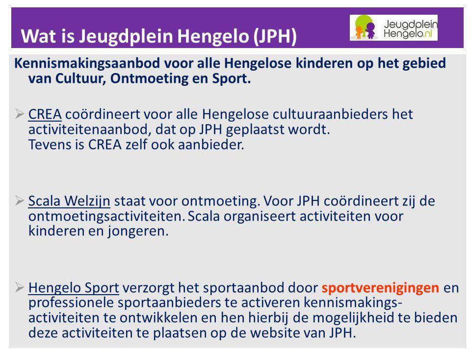Wat is Jeugdplein Hengelo (JPH) Kennismakingsaanbod voor alle Hengelose kinderen op het gebied van Cultuur, Ontmoeting en Sport.